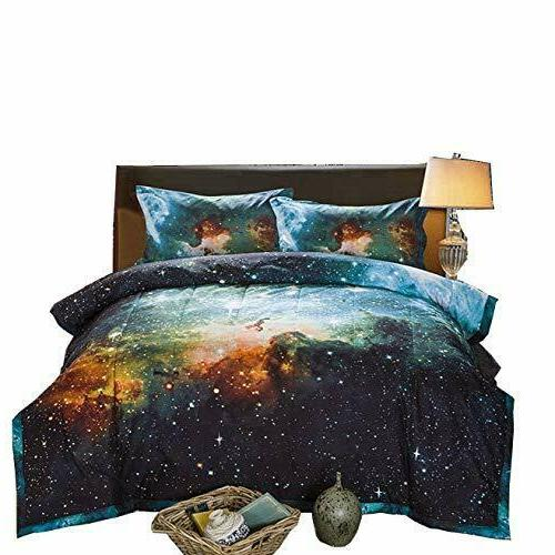 Comforter Sets Black and Blue Galaxy Bedding Sets 3D Printed