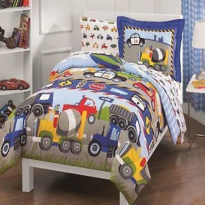 Comforter Sheet Set 5 Piece Dream Factory Kids Boys Trucks T