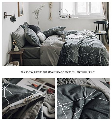 HIGHBUY Geometric King Men 100% Cotton Duvet Sets Plaid Grid Pattern Comforter Teens Bed