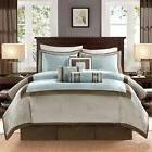 Deluxe Blue Taupe CAL King Queen Comforter Set 7 pcs NWT Fan