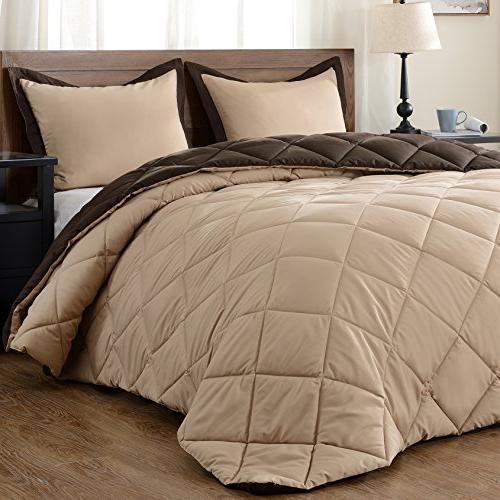 downluxe Solid Shams 3-Piece Set - Brown - Reversible
