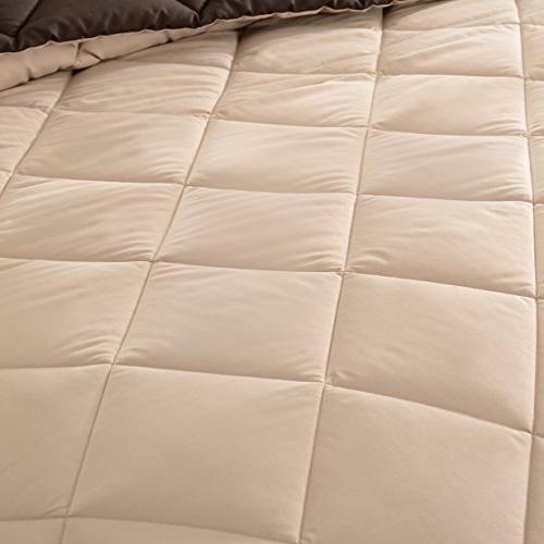 downluxe Lightweight Solid Comforter Set with Shams Set - and - Hypoallergenic Down Alternative Reversible