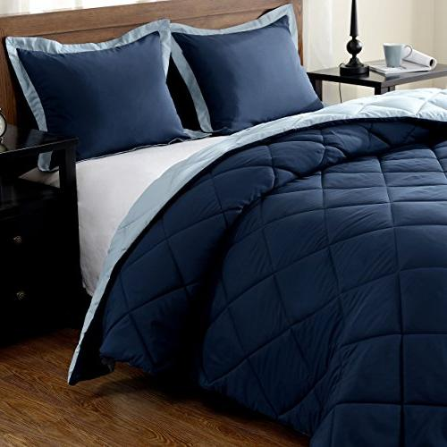 downluxe Lightweight Solid Set with 2 Pillow Shams Set - - Hypoallergenic Down Reversible Comforter