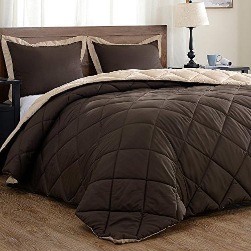 downluxe Lightweight Set with Shams - 3-Piece Set - Brown - Hypoallergenic Alternative Reversible Comforter