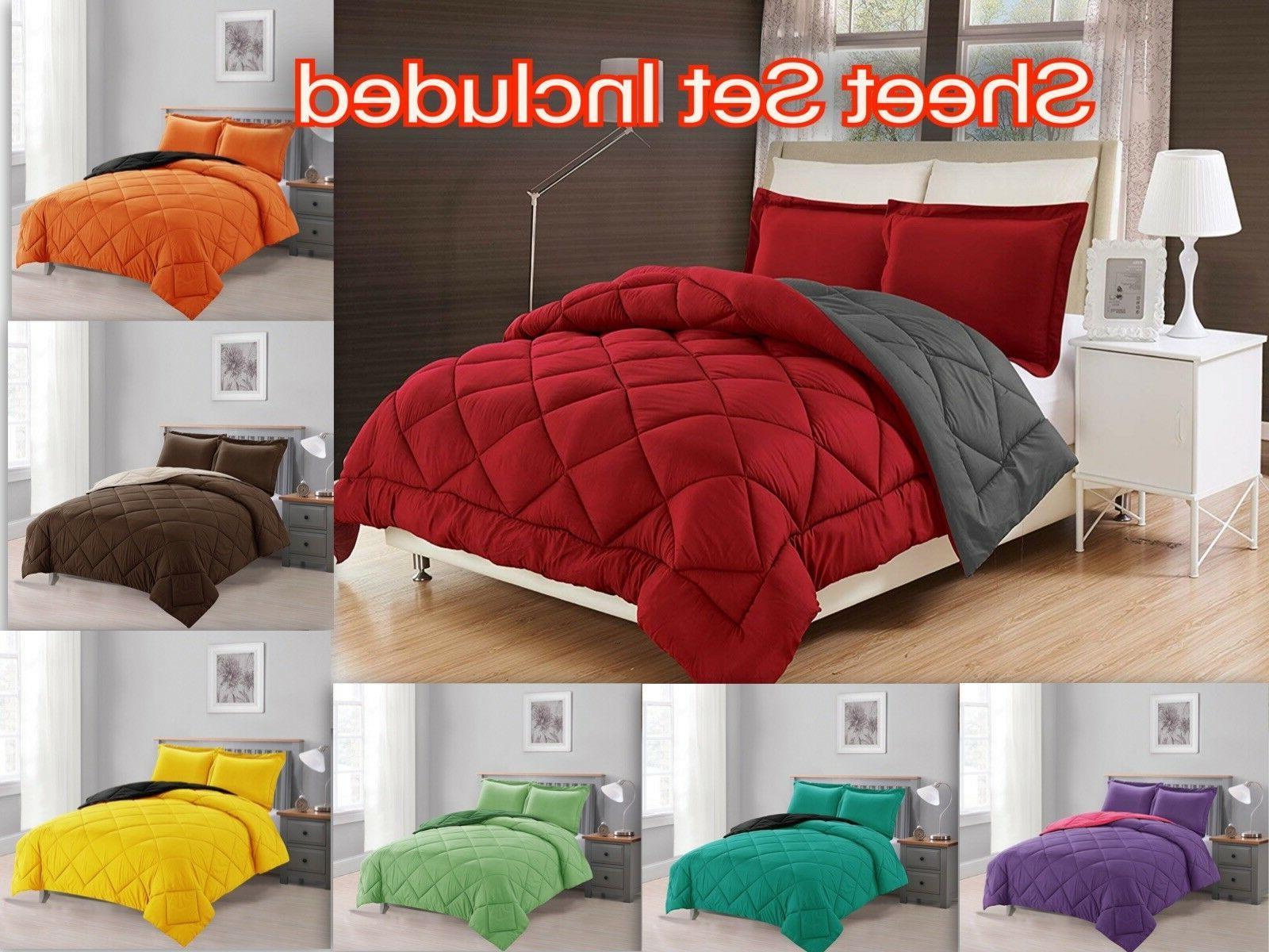 down alternative comforter set 7 pc reversible