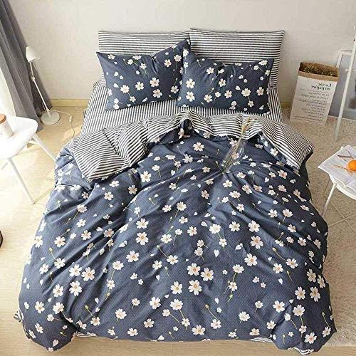 Duvet Cover 3 Bedding With Closure Reversible Striped