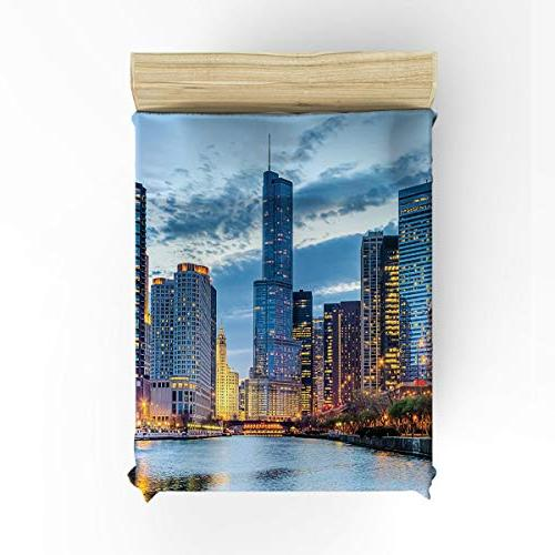 Clouday Full Size Soft 4 Sets City Landscape Bed Sheet Flat Sheet 1 Duvet Cover and Cases