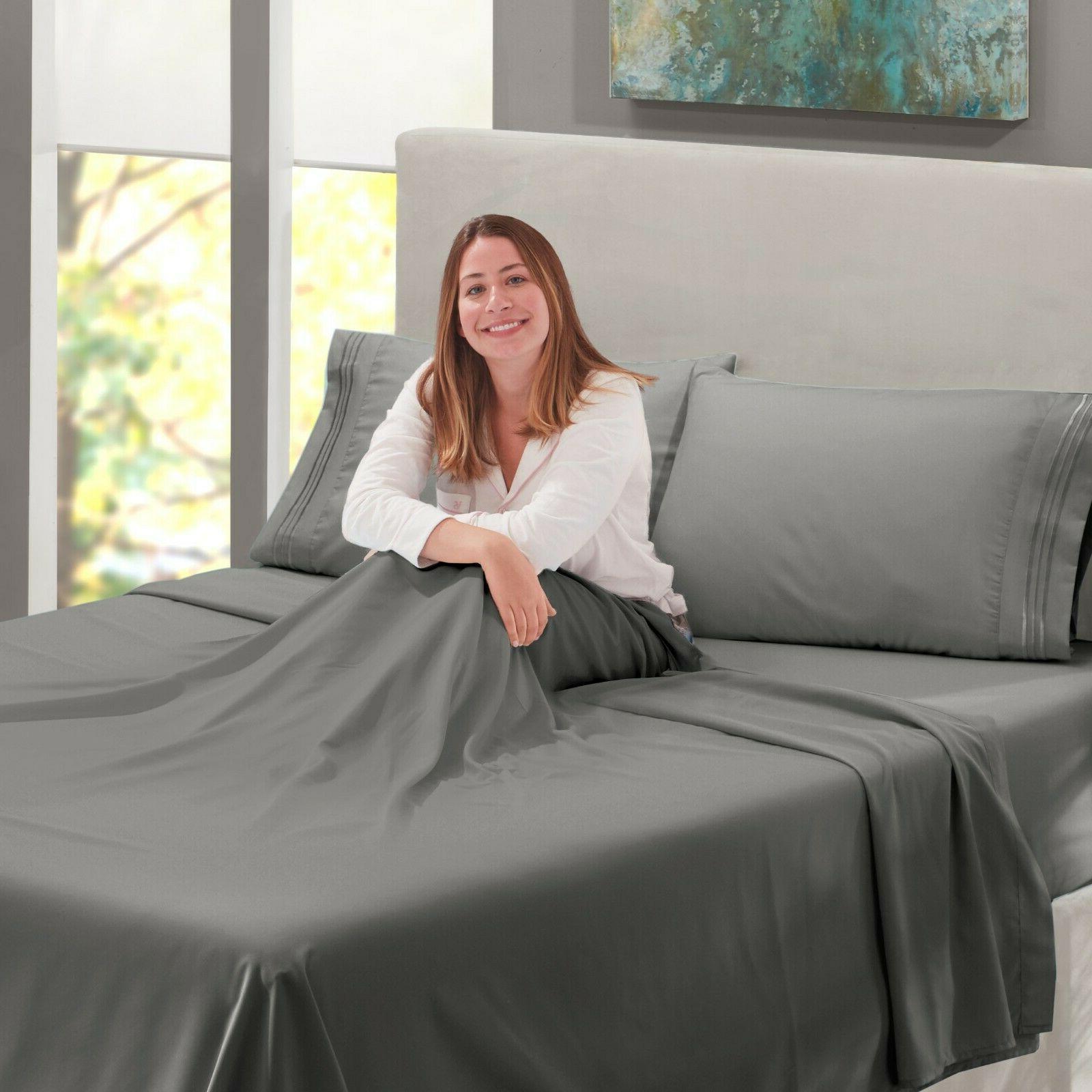 Egyptian Comfort Count 4 Piece Bed Sheet Set Deep Sheets