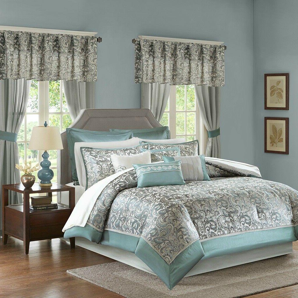 Elegant Teal Grey Faux Silk  Paisley Comforter Curtain 24 pc
