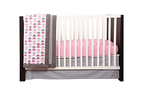 Elephants Pink/Grey 10 pc crib set Pad