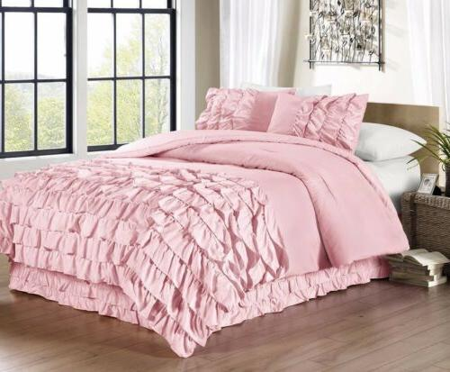 ella 3 piece waterfall ruffle comforter set