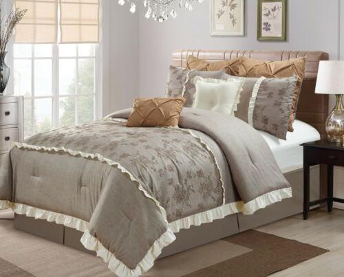 embroidered rose faux linen comforter