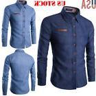 fashion men denim jeans shirt casual long