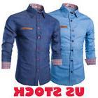 Fashion Men Denim Jeans Shirt Casual Long Sleeve Slim Cotton