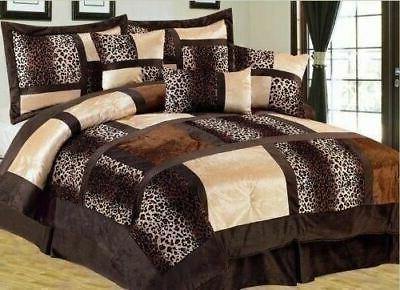 Full Queen Cal King Leopard Zebra Brown Tan Patchwork Faux F