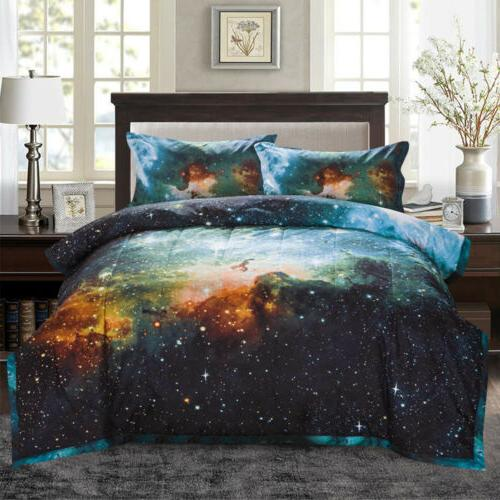 Galaxy Comforter Set Reversible Quilt Outer Space Bedding Sets