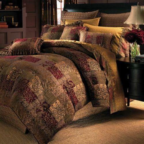 galleria 4pc queen comforter set brown red