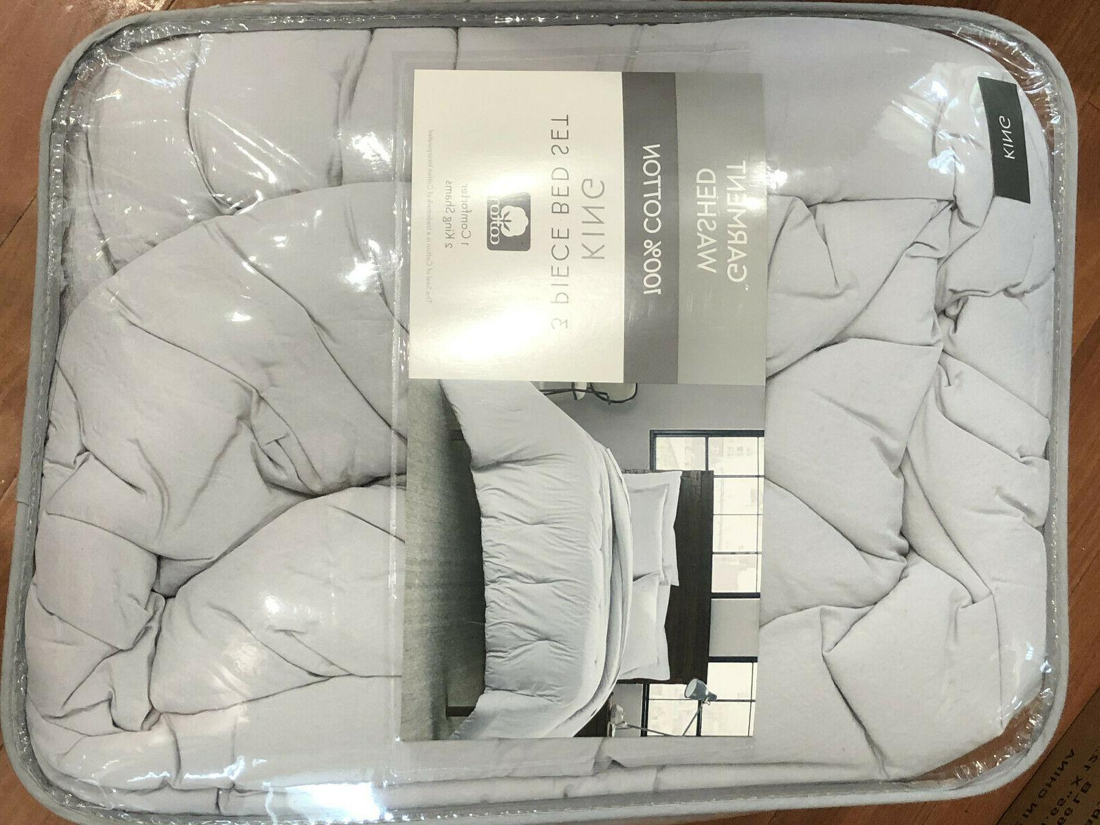 Garment Washed Solid 3-Piece King Silver Cotton shams