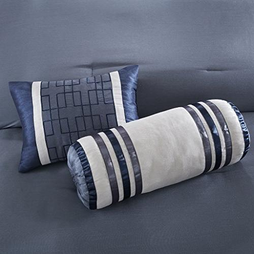 Madison Queen Size Bed Bag - Navy, Pieced 7 Pieces Bedding – Comforters