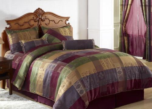 Chezmoi Jacquard Patchwork California King, Multi Color