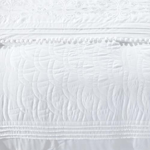 Grace Chenille Embroidered Pleated Striped Comforter Set