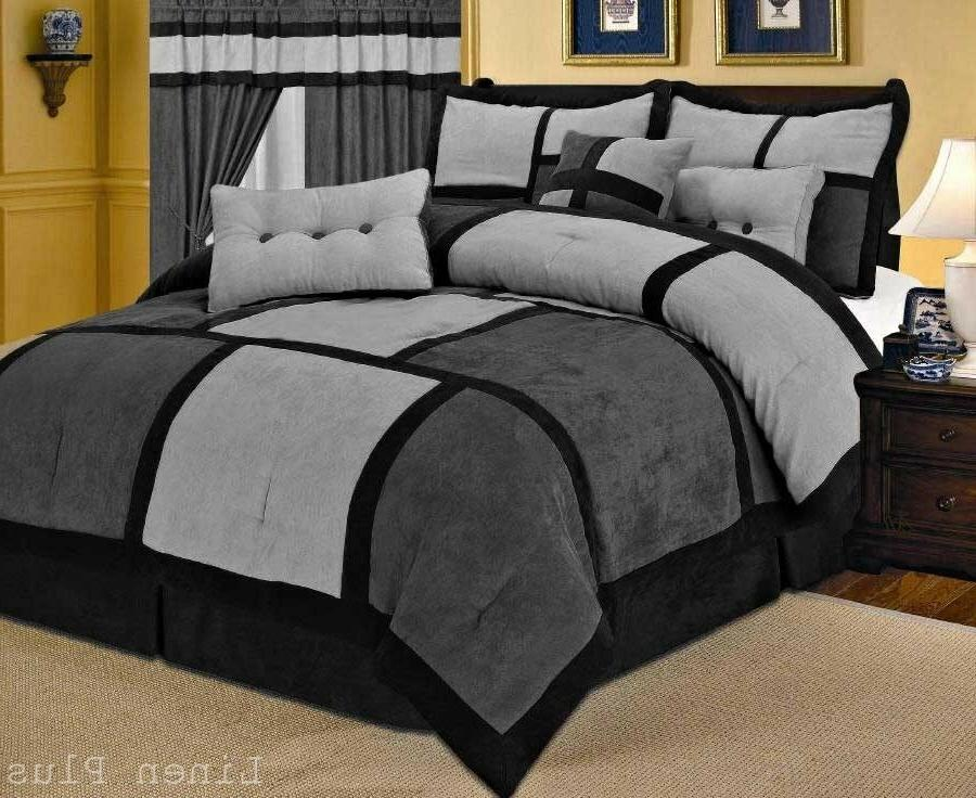 Gray Black Micro Suede Comforter Set King Size New Linen Plu