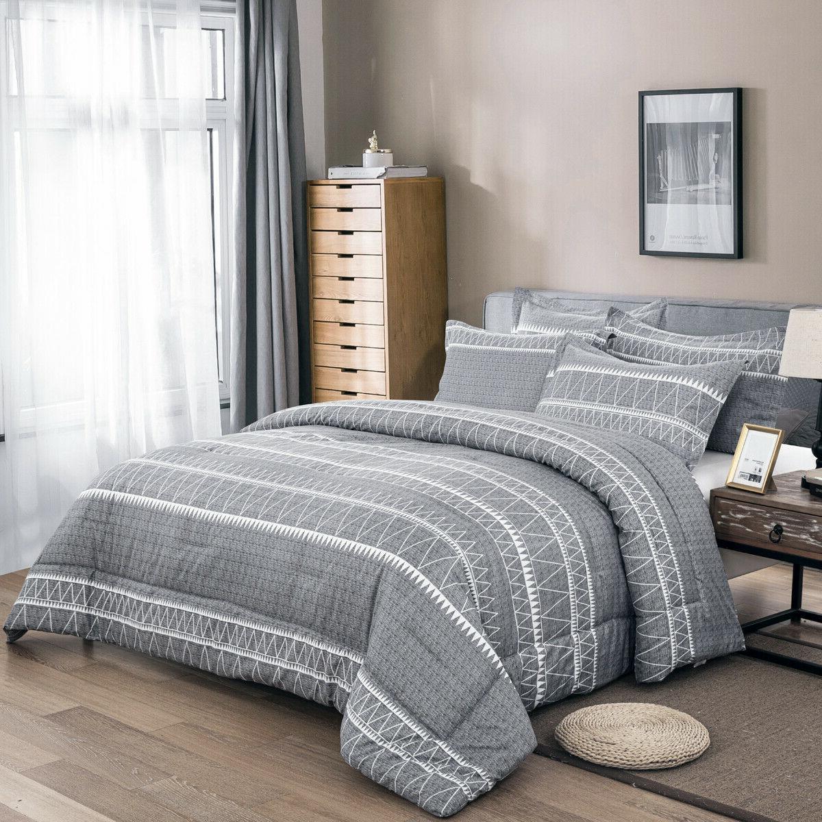 Beautiful Gray Striped Comforter Set Soft Warm Blanket Queen