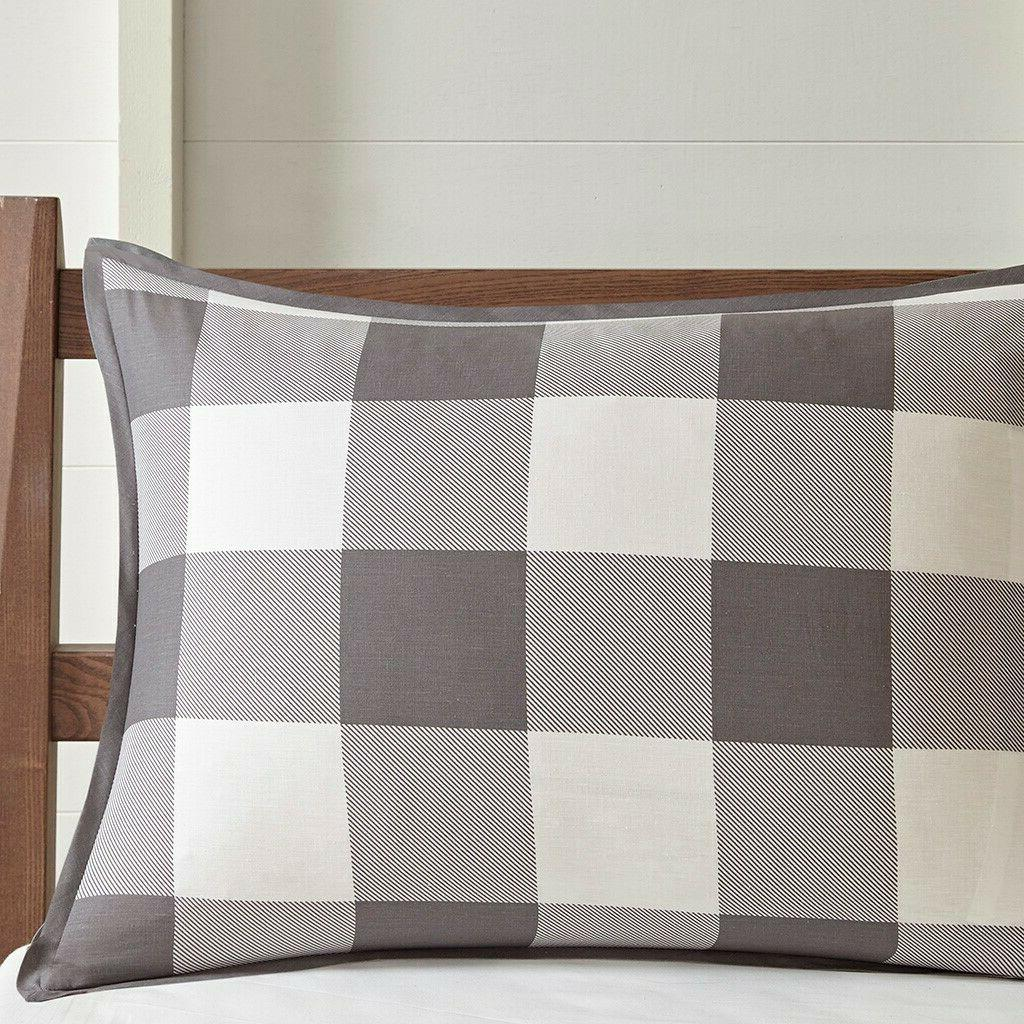 FARMHOUSE PLAID COMFORTER : COTTON COUNTRY GRAY CHECK