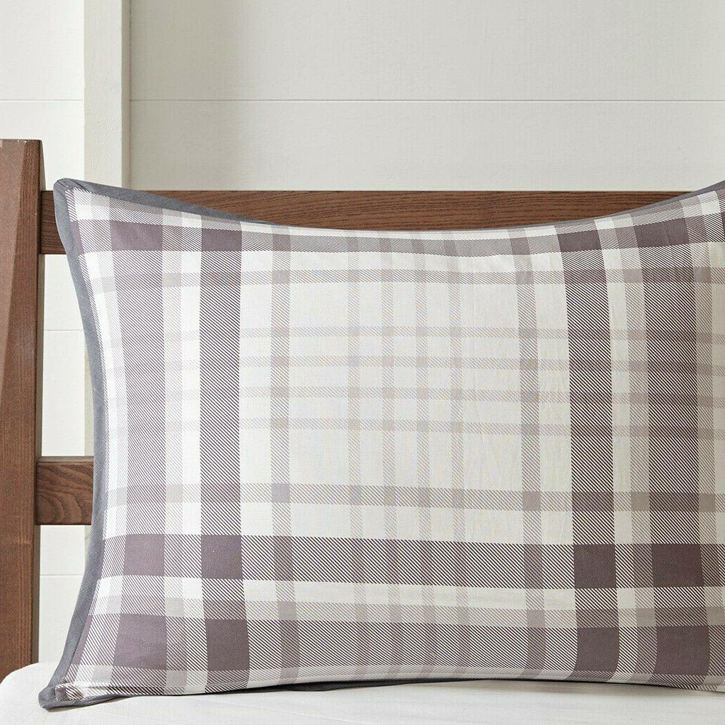 COMFORTER SET COTTON COUNTRY GRAY CHECK