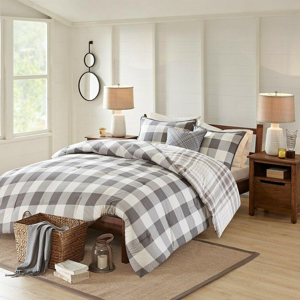 FARMHOUSE COMFORTER : COTTON COUNTRY GRAY WHITE CHECK