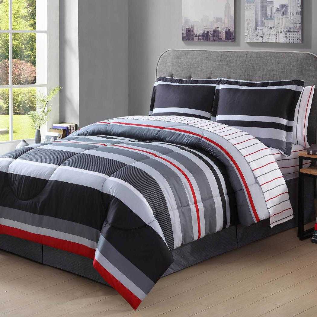 Grey Red Off White Boys Rugby Stripes King Comforter Set She