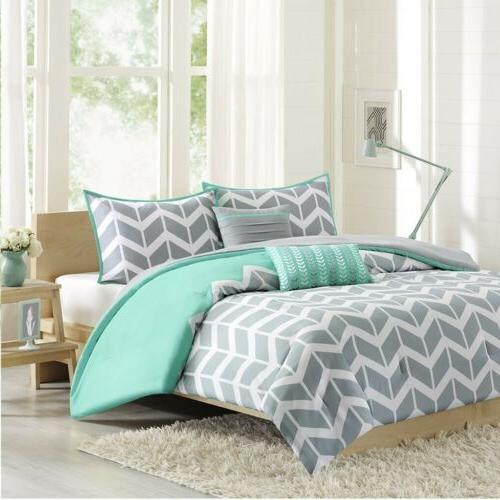 Grey Teal & White Chevron Reversible Comforter Set AND Decor