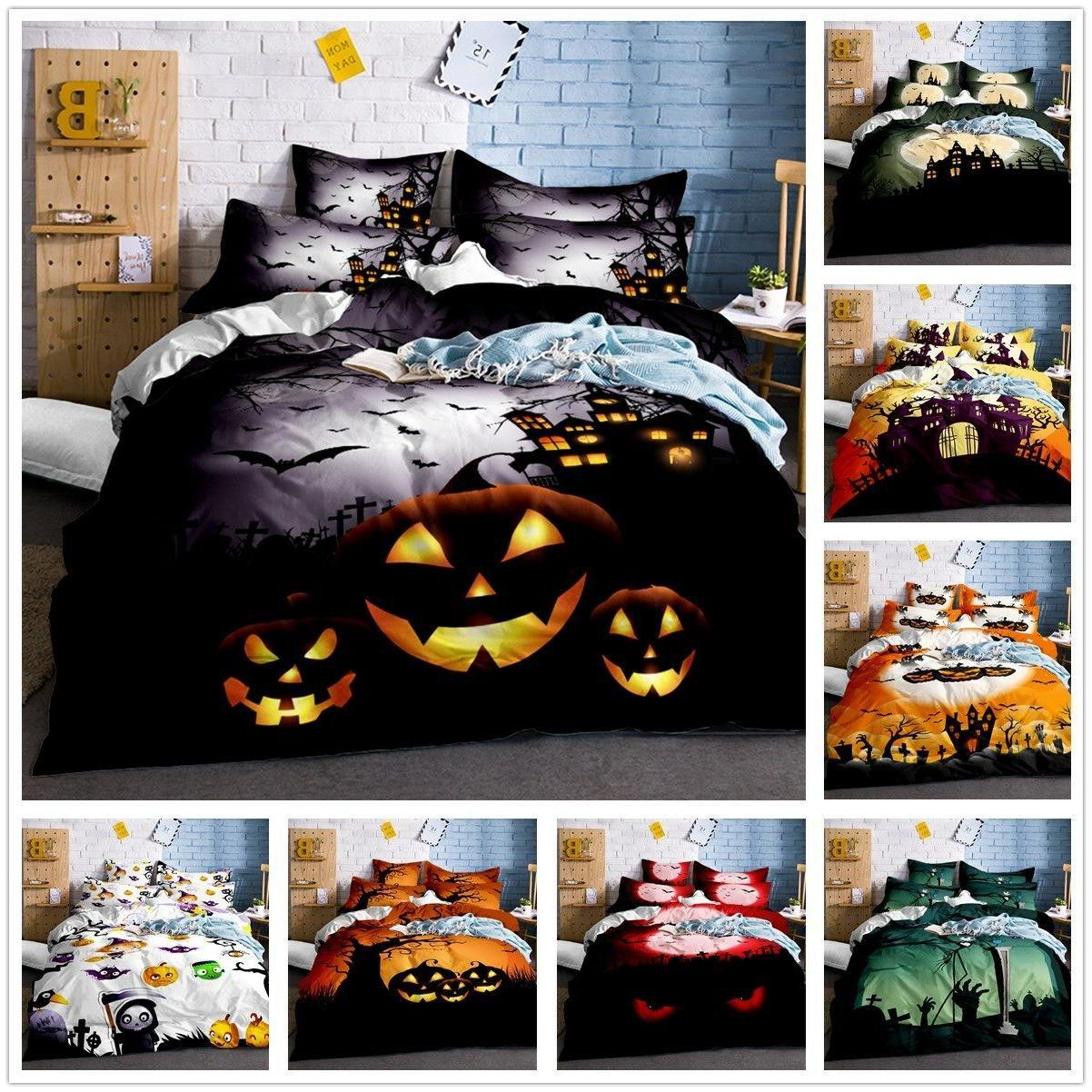 Halloween Pumpkin Skull Duvet Cover Pillowcase Quilt/Comfort