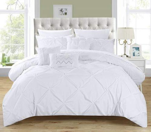 Chic 10 Hannah Pinch Pleated, ruffled and Bed In a Comforter Set sheet set