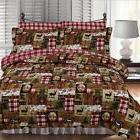 Holiday patchwork deer trees lodge flannel comforter set ful