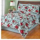 Holiday Poinsettia Garden Comforter Set with Bedskirt in Que