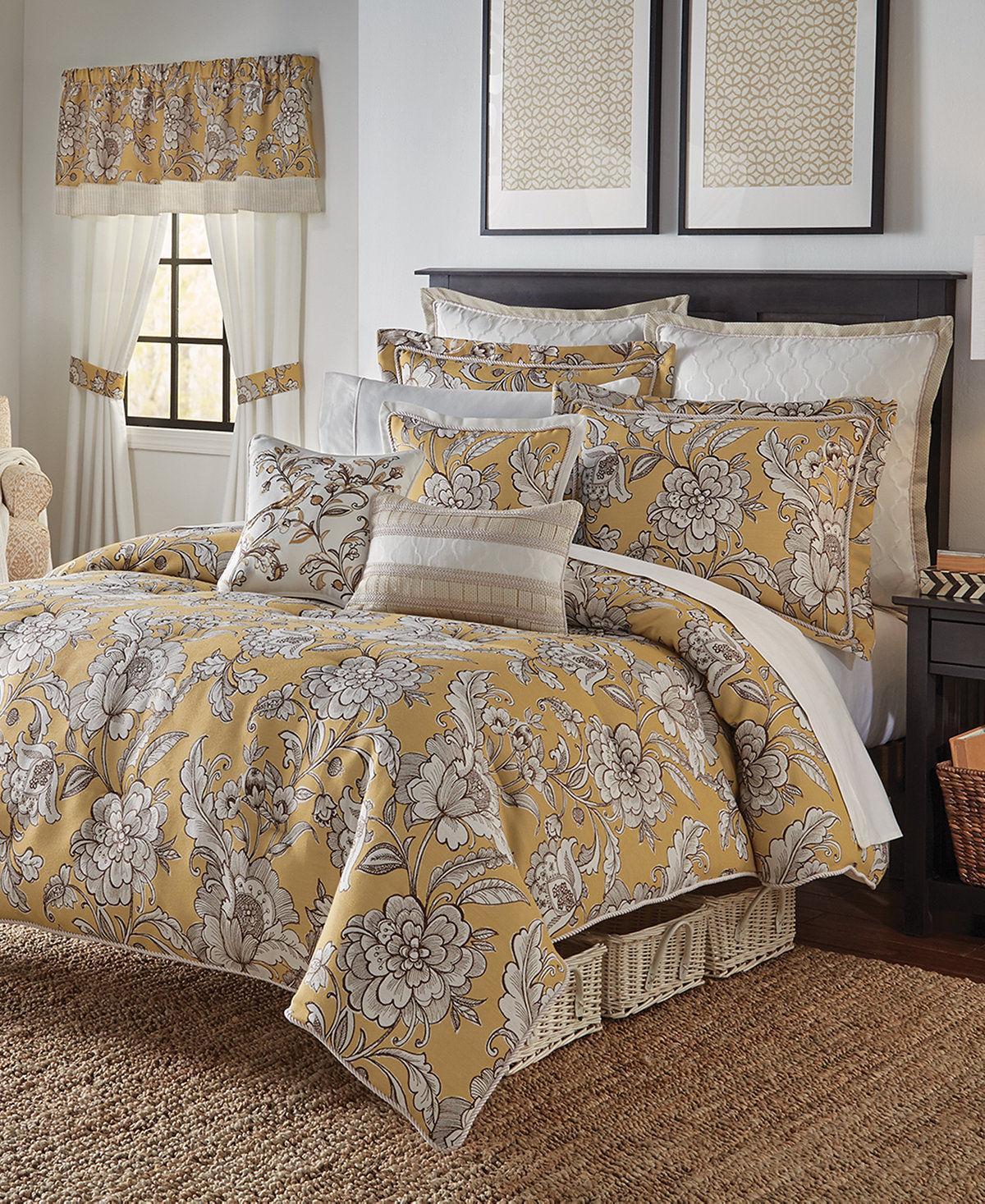 Croscill Kassandra DIJON YELLOW Full Queen Comforter + 2 Sta