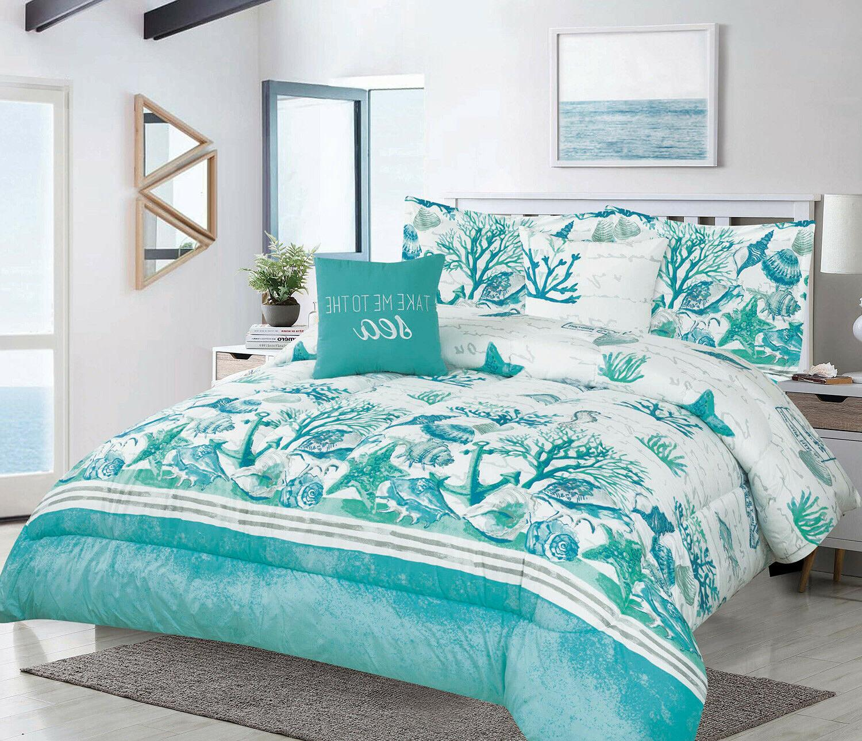 king or fullqueen 5pc oversized coastal seashell comforter