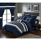 King Size 24 Piece Navy Blue and White Bedding Comforter & C