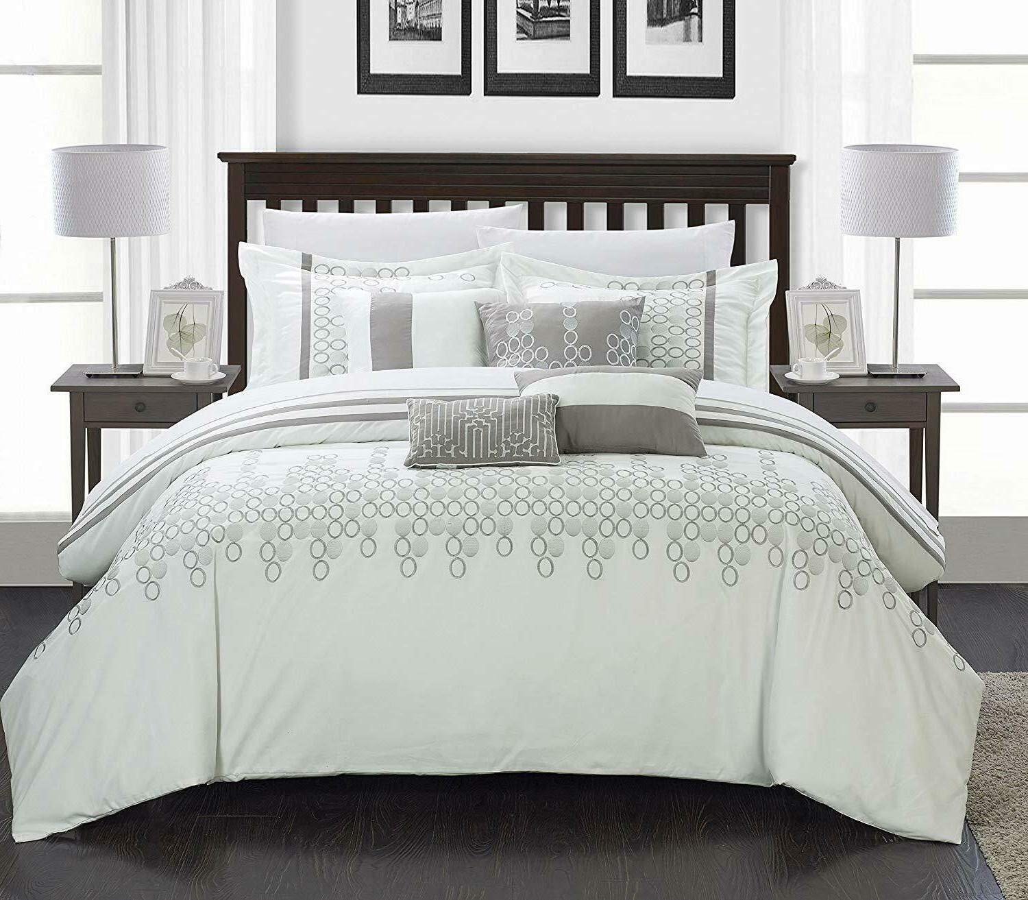 lauren 6 piece comforter set queen white