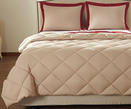 downluxe Lightweight Solid Set with Shams - 3-Piece - Red - Reversible Comforter