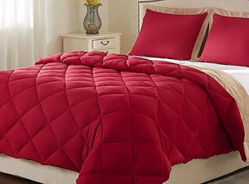 Set Shams - - Red and Tan - Reversible Comforter