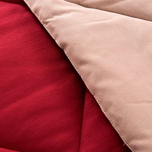 downluxe Solid Set with Pillow Shams - 3-Piece - Red and Reversible