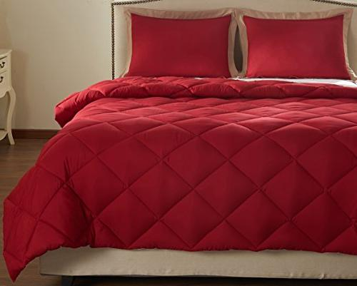 downluxe Set with Pillow Shams - and - Hypoallergenic Down Reversible Comforter