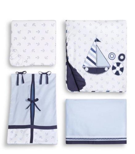 Bacati Little Sailor 9 Pc Nursery Boys Crib Bedding Set Comf