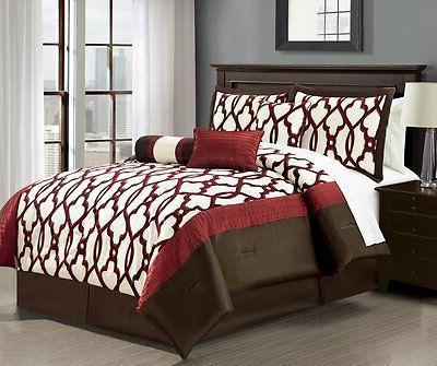 Luxurious 7-Piece  Chocolate/Burgundy Comforter Set New.
