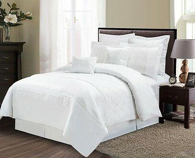 Luxurious 8 Piece Frosty White Pinched Pleated Style Comfort