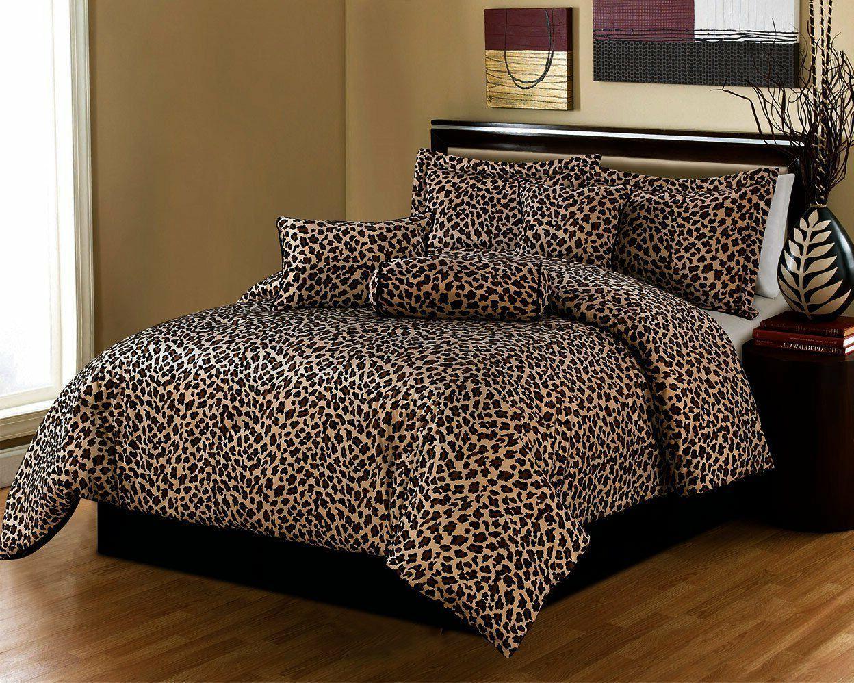 Luxury 7 Piece Safari Leopard Print Micro Fur Bedding Comfor
