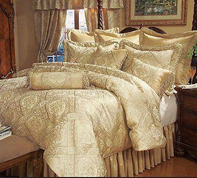 luxury gold print 9 piece imperial comforter