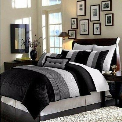 8 piece luxury pintuck pleated stripe black